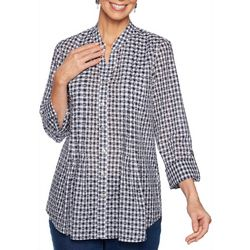 Ruby Road Favorites Womens Gingham Dots Button Down Top