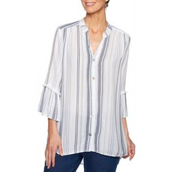 Ruby Road Favorites Striped Crepe Button Down Top