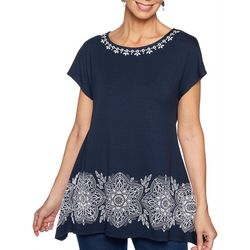 Ruby Road Favorites Womens Puff Print Bordered Top