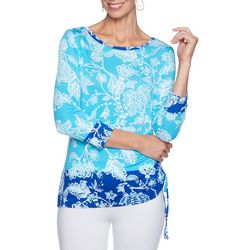 Ruby Road Favorites Womens Floral Paisley Jewel Neck Top
