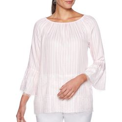 Ruby Road Favorites Womens Lace Trim Stripe Bell Sleeve Top