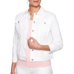 Ruby Road Favorites Womens Lace Trim Denim Jacket