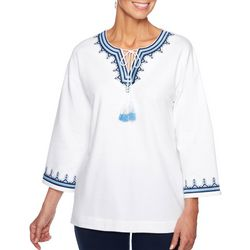 Ruby Road Favorites Womens Embroidered Tassel Top