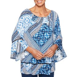 Ruby Road Favorites Womens Patchwork Print Tunic Top