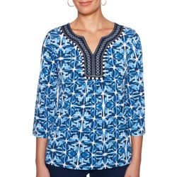 Ruby Road Favorites Womens Embroidered Geo Print Top