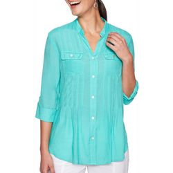 Ruby Road Favorites Womens Solid Button Down Pocket Top