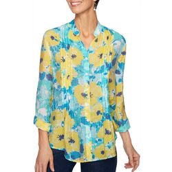 Ruby Road Favorites Womens Floral Print Pleated Top