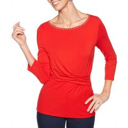 Ruby Road Favorites Womens Solid Embellished Faux Wrap Top