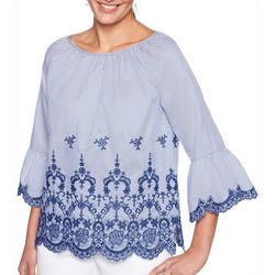 Ruby Road Favorites Womens Striped Floral Embroidered Top