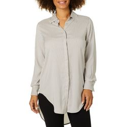 Philosophy Womens Striped Button Down High-Low Top