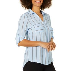 Philosophy Womens Striped Chest Pocket Button Down Top