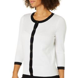 Premise Womens Two Tone Enamel Button Cardigan