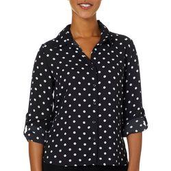 Premise Womens Dot Print Button Down Roll Tab Sleeve Top