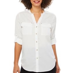 Premise Womens Button Down Roll Tab Sleeve Top
