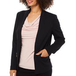 Carmen Marc Valvo Womens Zippered Pocket Jacket