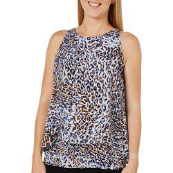 Zac & Rachel Womens Tiered Animal Print Sleeveless Top