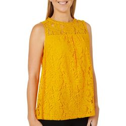 Zac & Rachel Womens Solid Lace High Neckline Sleeveless Top