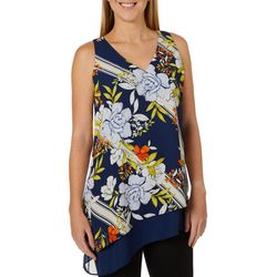 Zac & Rachel Womens Floral Double Layer Sleeveless Top