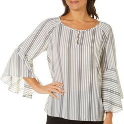 Zac & Rachel Womens Striped Bell Sleeve Top
