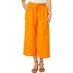 Zac & Rachel Womens Wide Leg Linen Ankle Pants