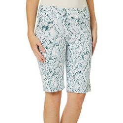 Zac & Rachel Womens Snake Print Pull On Skimmer Shorts