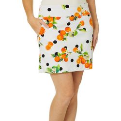 Zac & Rachel Womens White Dotted Pull On Skort