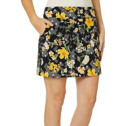 Zac & Rachel Womens Geometric Floral Pull On Skort