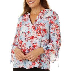 Zac & Rachel Womens Floral Print Embellished Bell Sleeve Top