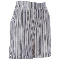 Prosecco Womens Mixed Vertical Stripes Linen Shorts