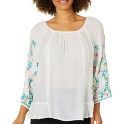 Zac & Rachel Womens Floral Embroidered Sleeve Top