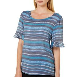 Zac & Rachel Womens Scratchy Striped Ruffle Sleeve Top