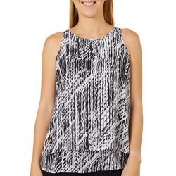 Zac & Rachel Womens Line Print Tiered Sleeveless Top