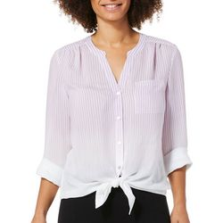 Zac & Rachel Womens Ombre Stripe Button Down Tie Front Top
