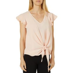 Zac & Rachel Womens Tie Front Ruffle Sleeve Top