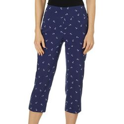 Zac & Rachel Womens Anchor Print Pull On Capris