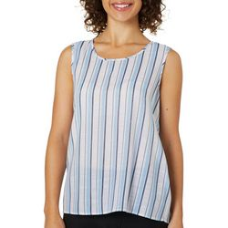 Zac & Rachel Womens Striped Lace Up Back Sleeveless Top