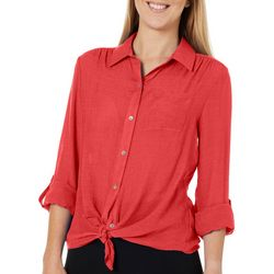 Zac & Rachel Womens Solid Slub Tie Front Top