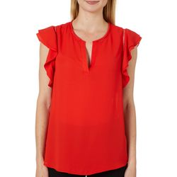 Zac & Rachel Womens Solid Ruffle Sleeve Top