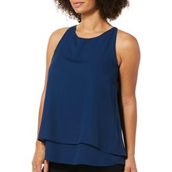 Zac & Rachel Womens Solid Tiered Sleeveless Top