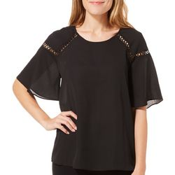 Zac & Rachel Womens Solid Crepe Ruffle Sleeve Top
