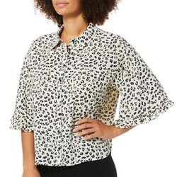 Zac & Rachel Womens Leopard Print Bell Sleeve Top