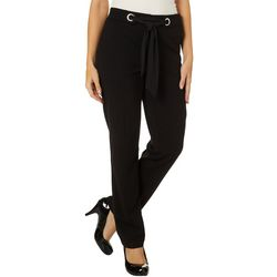 Zac & Rachel Womens Solid Belted Wide Leg Pull-On Pants