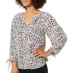 Zac & Rachel Womens Leopard Print Long Sleeve Top