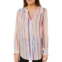 Zac & Rachel Womens Colorful Striped Button Down Top