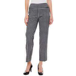 Zac & Rachel Womens Gingham Print Pull On Ankle Pants