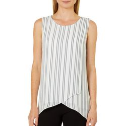 Zac & Rachel Womens Striped Overlap Sleeveless Top