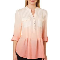 Zac & Rachel Womens Ombre Pintuck Roll Tab Top