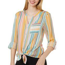 Zac & Rachel Womens Striped Chest Pocket Roll Tab Sleeve Top