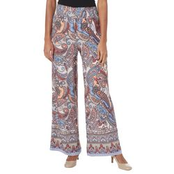 Zac & Rachel Womens Paisley Print Wide Leg Pants