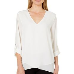 Zac & Rachel Womens Solid Layered Roll Tab Top